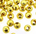 Spacer Round Corrugated Fluted 5mm Gold Plated. Pack of 200
